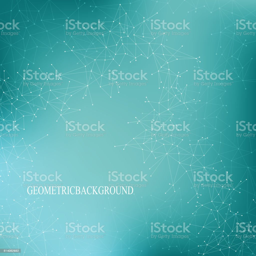 Geometric abstract background with connected lines and dots. Medicine, science vector art illustration