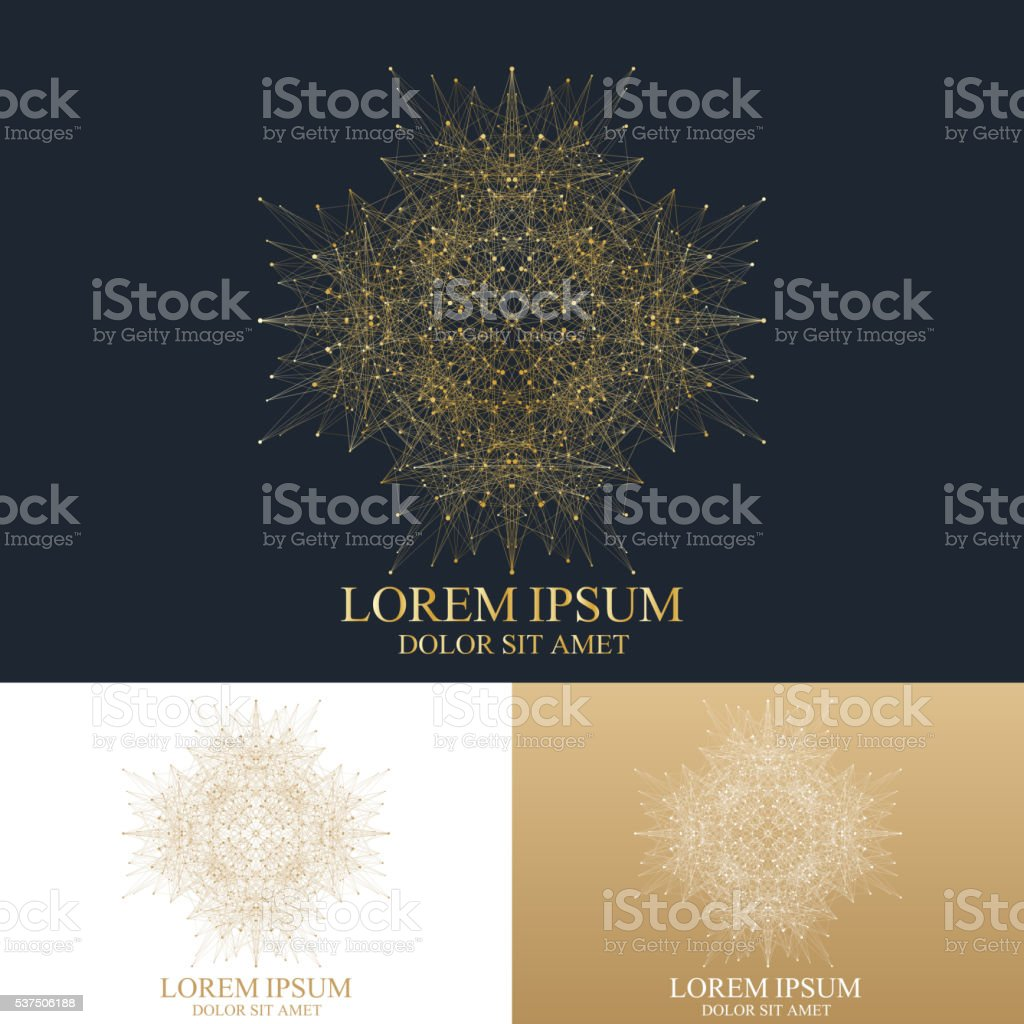 Geometric abstract round Logo. Golden mandala with connected line and vector art illustration