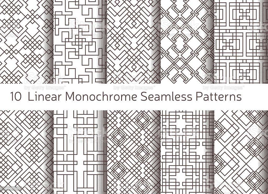 Geometric abstract seamless pattern. Linear motif background. Monochrome decoration design vector art illustration