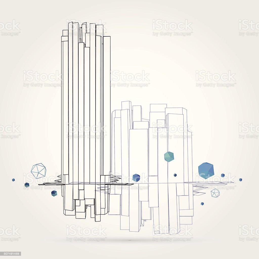 Geometric background. 3D Vector. vector art illustration
