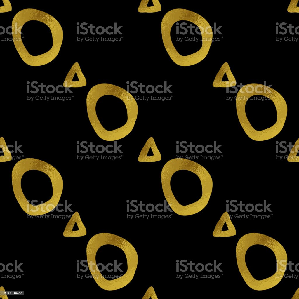 Geometric black and gold seamless pattern vector art illustration