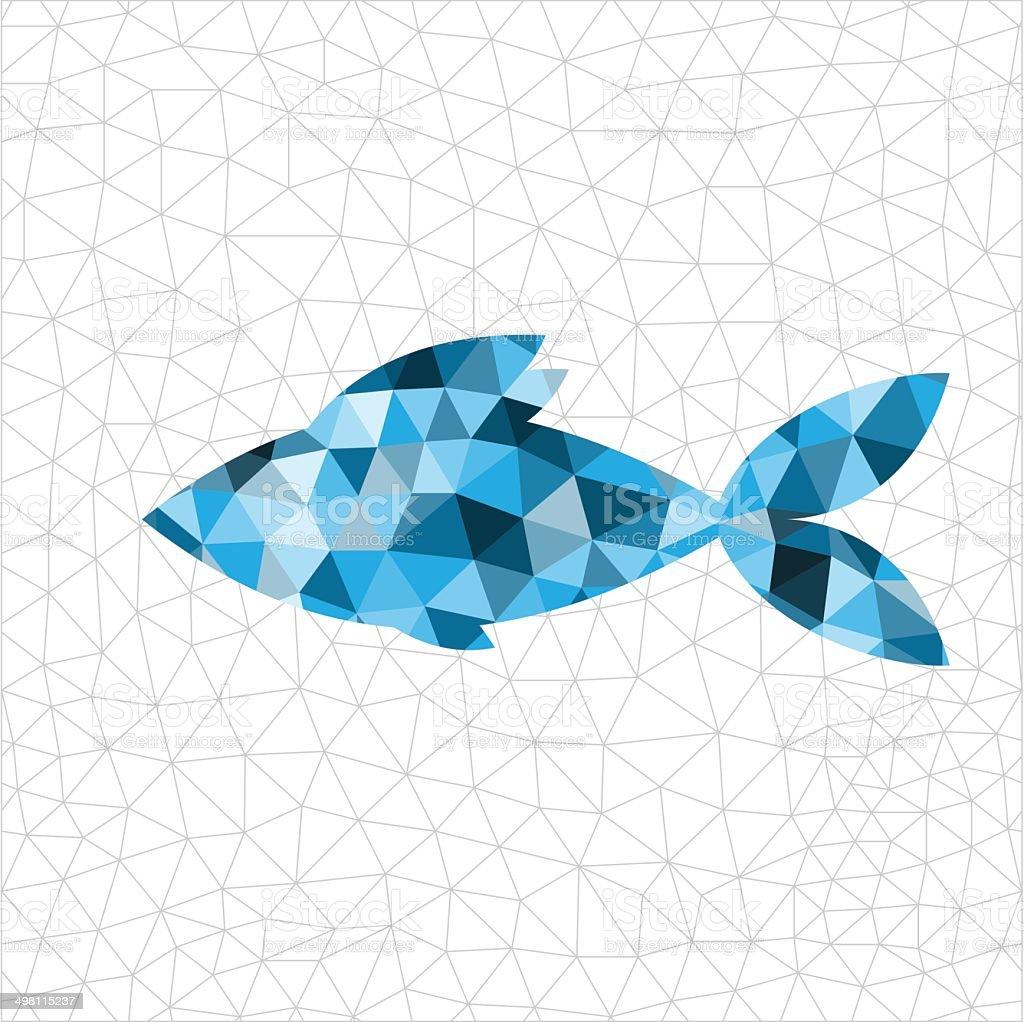 Geometric blue fish vector art illustration