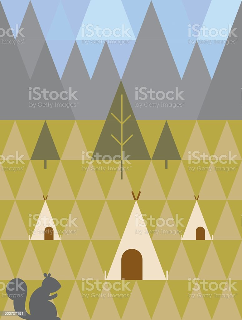 Geometric Camping Pattern vector art illustration