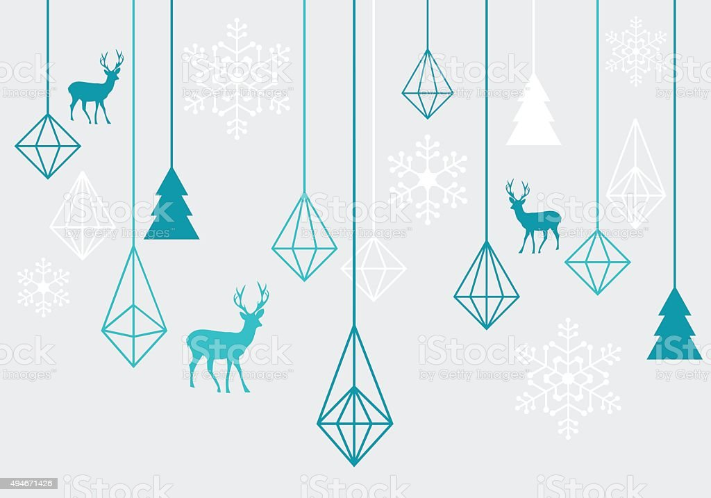 Geometric Christmas ornaments, vector vector art illustration