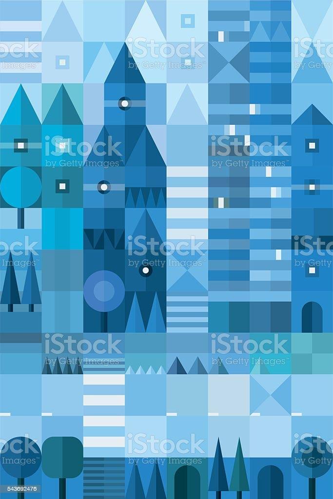 Geometric cityscape. Vector illustration vector art illustration