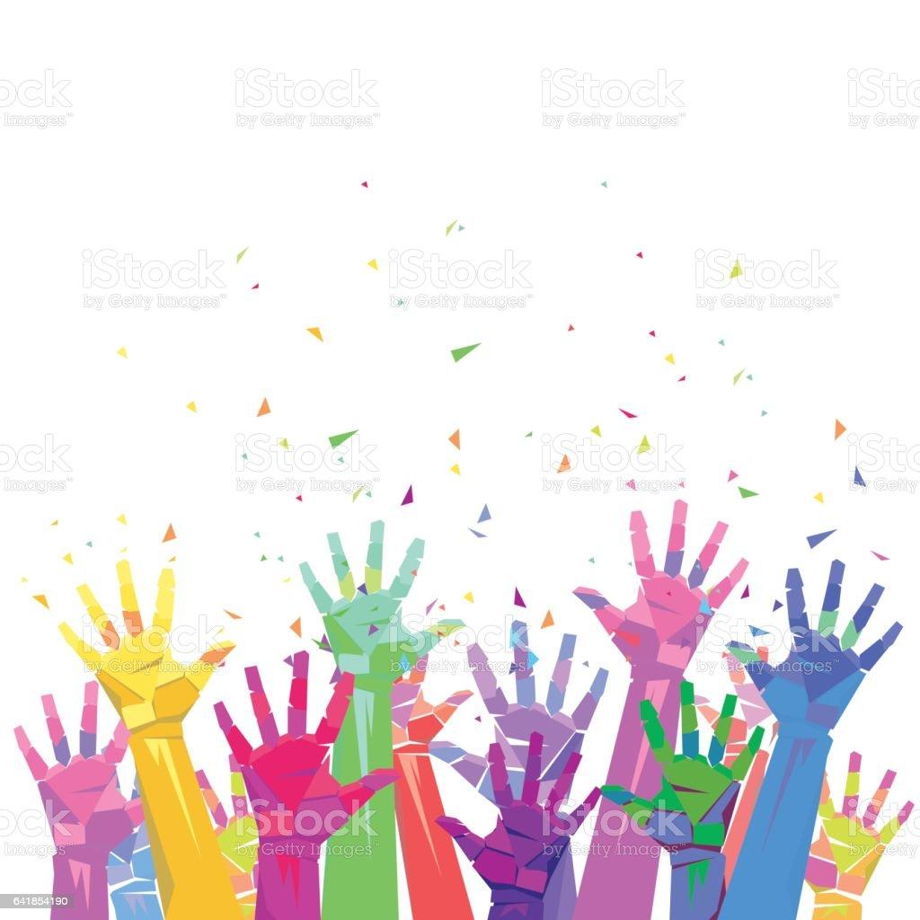 Geometric color up hands vector art illustration