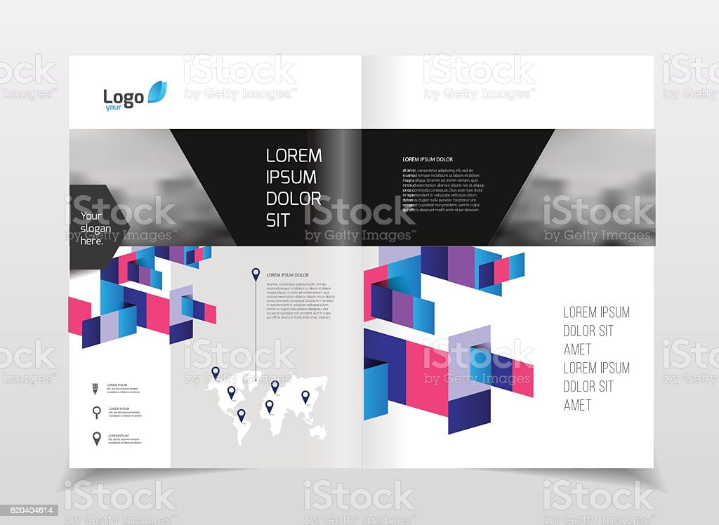 Geometric Cover Background, Brochure Template Layout for Annual...