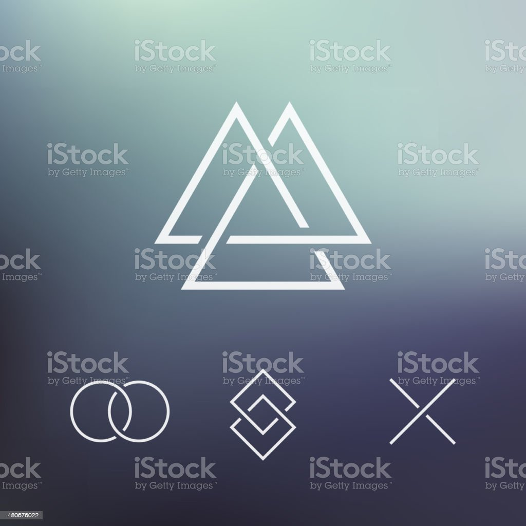 Geometric element, connected shapes, vector vector art illustration