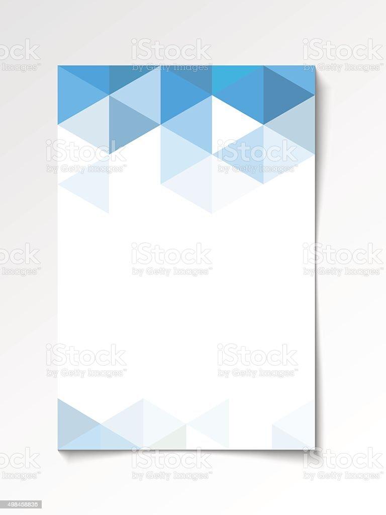 Geometric flyer design blue vector art illustration