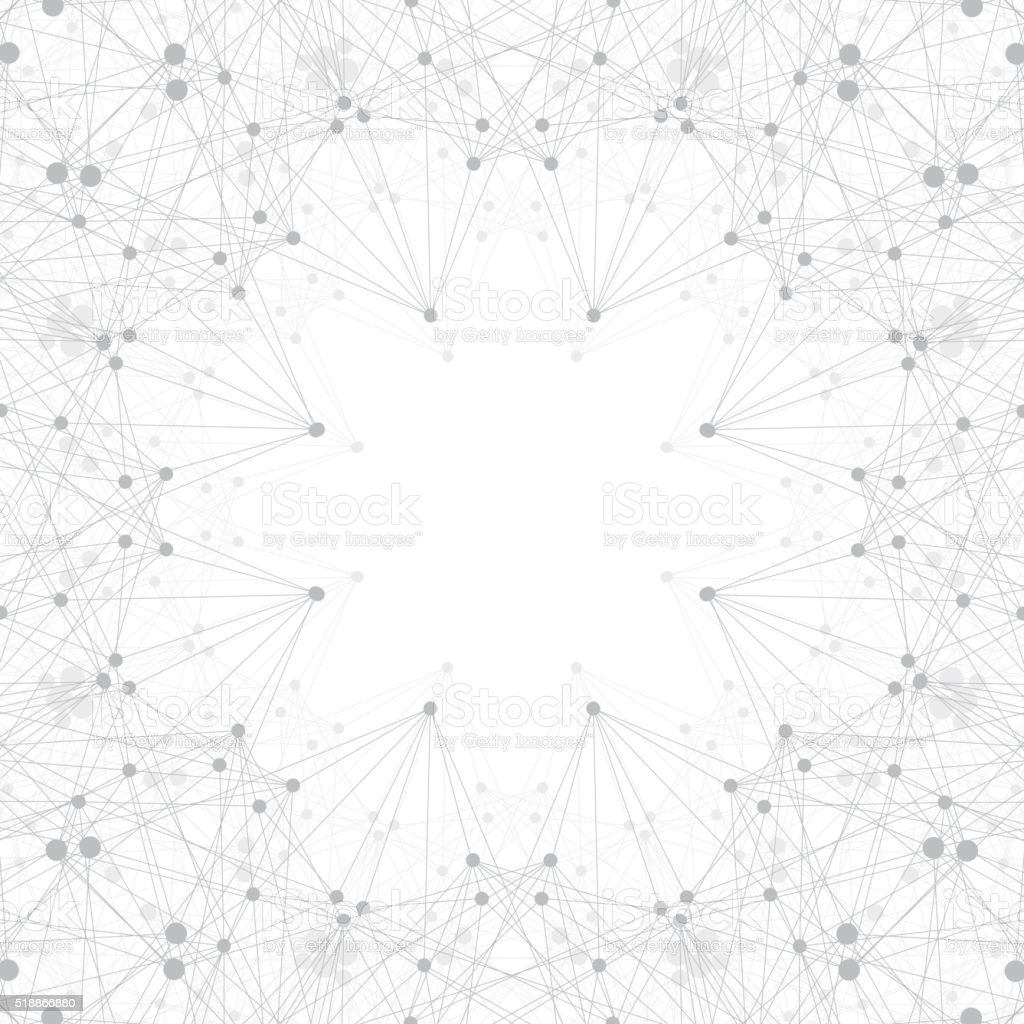 Geometric grey background molecule and communication . Connected lines with dots vector art illustration