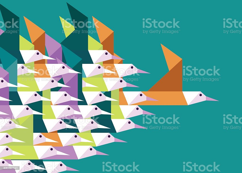 Geometric Group of birds. vector art illustration