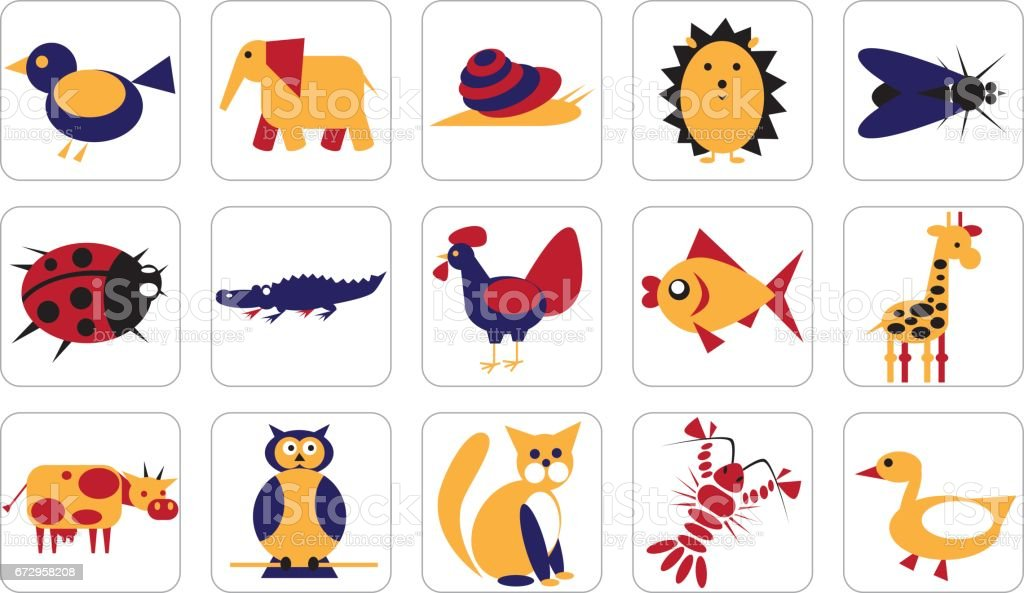 set of geometric icons of animals, birds, insects on white background