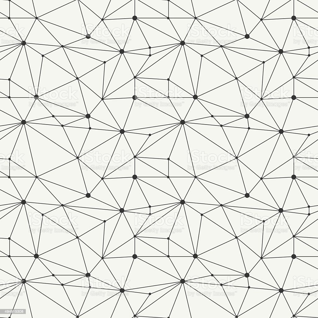 Geometric line hipster seamless pattern with triangle, circles. Reticulated grid. vector art illustration