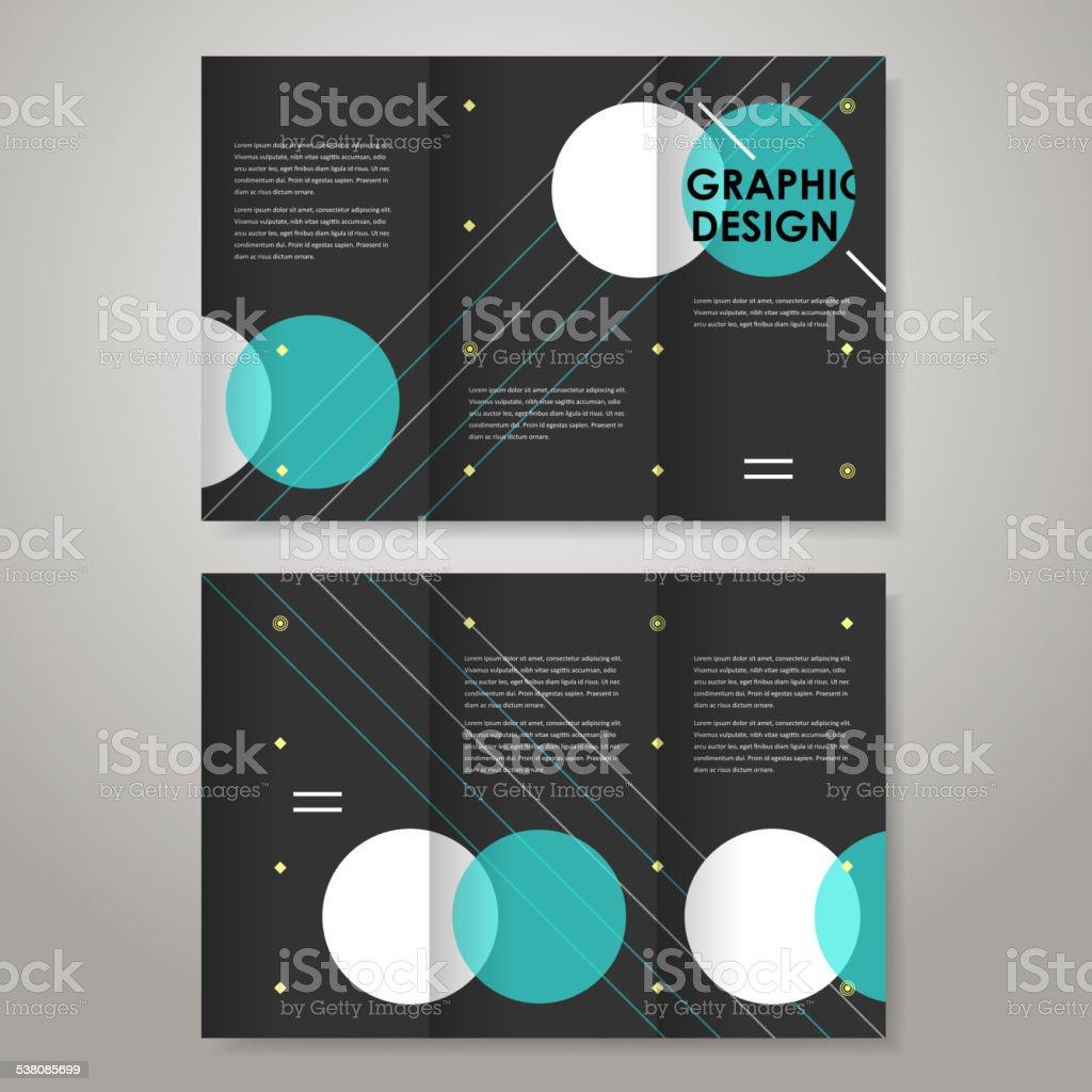 geometric modern design template for tri-fold vector art illustration