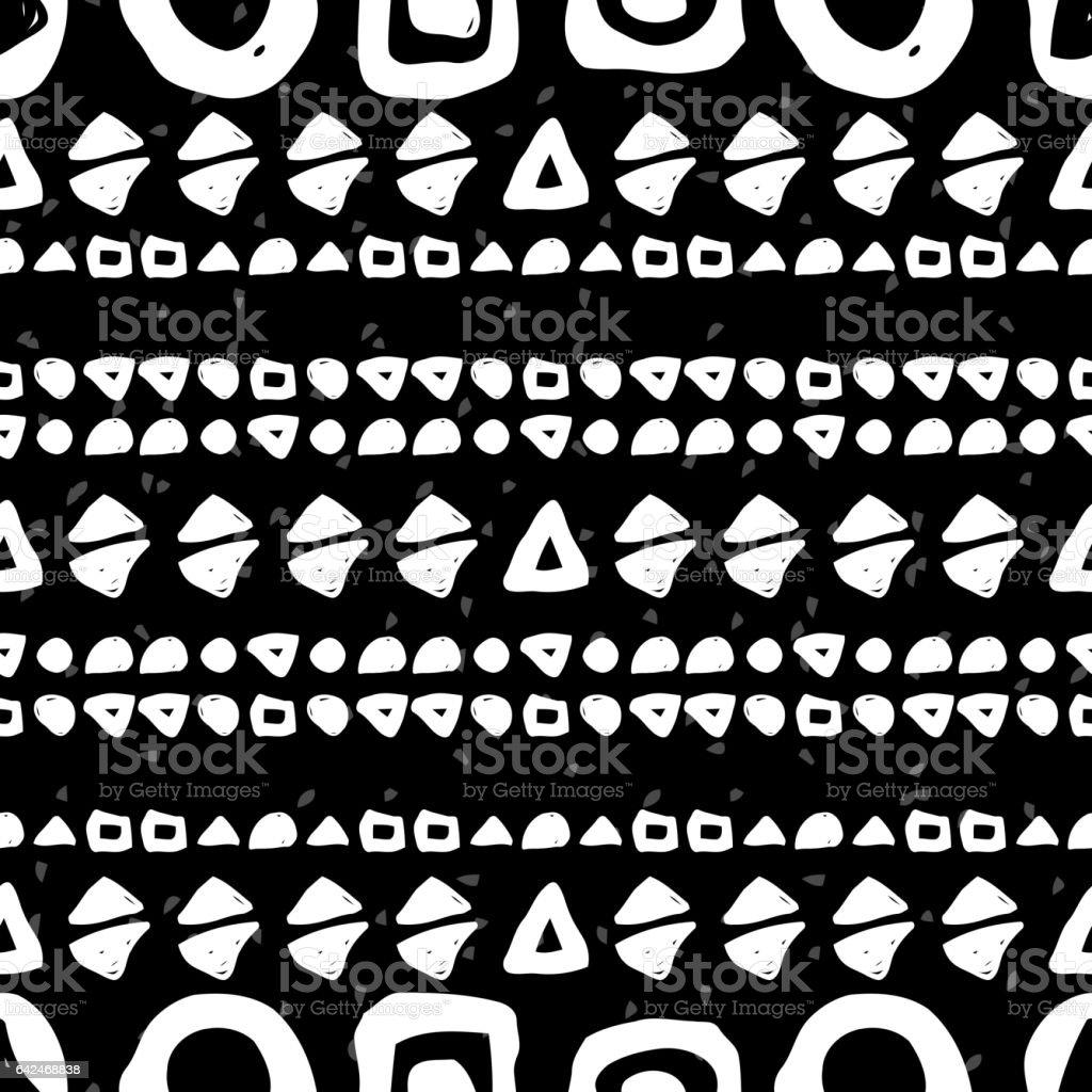 Geometric monochrome seamless pattern vector art illustration