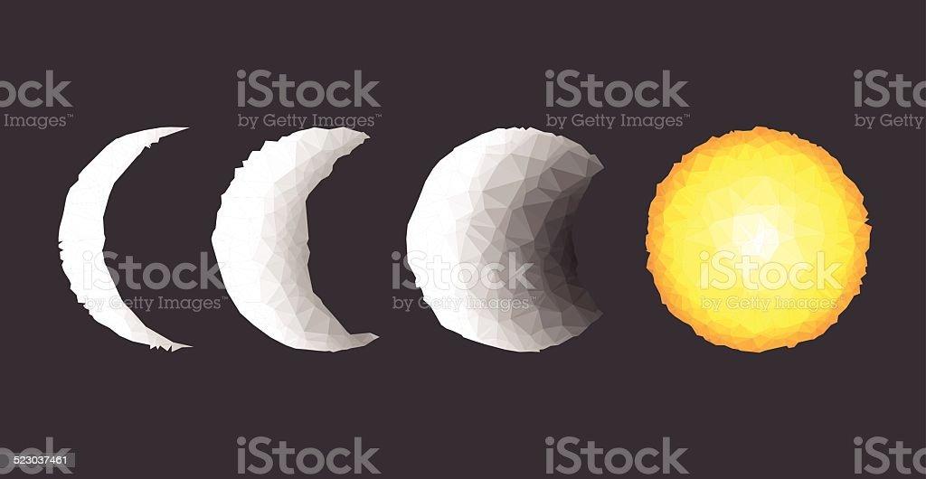 Geometric Moon & Sun vector art illustration