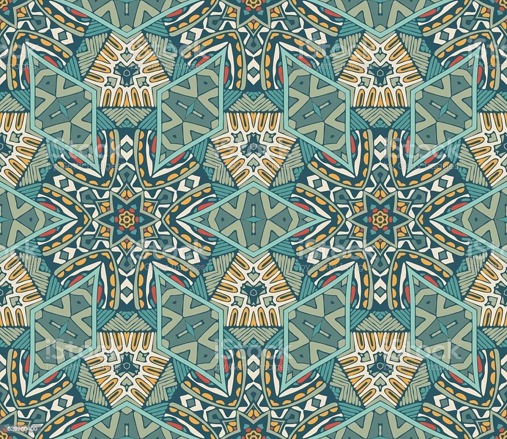 geometric mosaic vintage ethnic seamless pattern vector art illustration