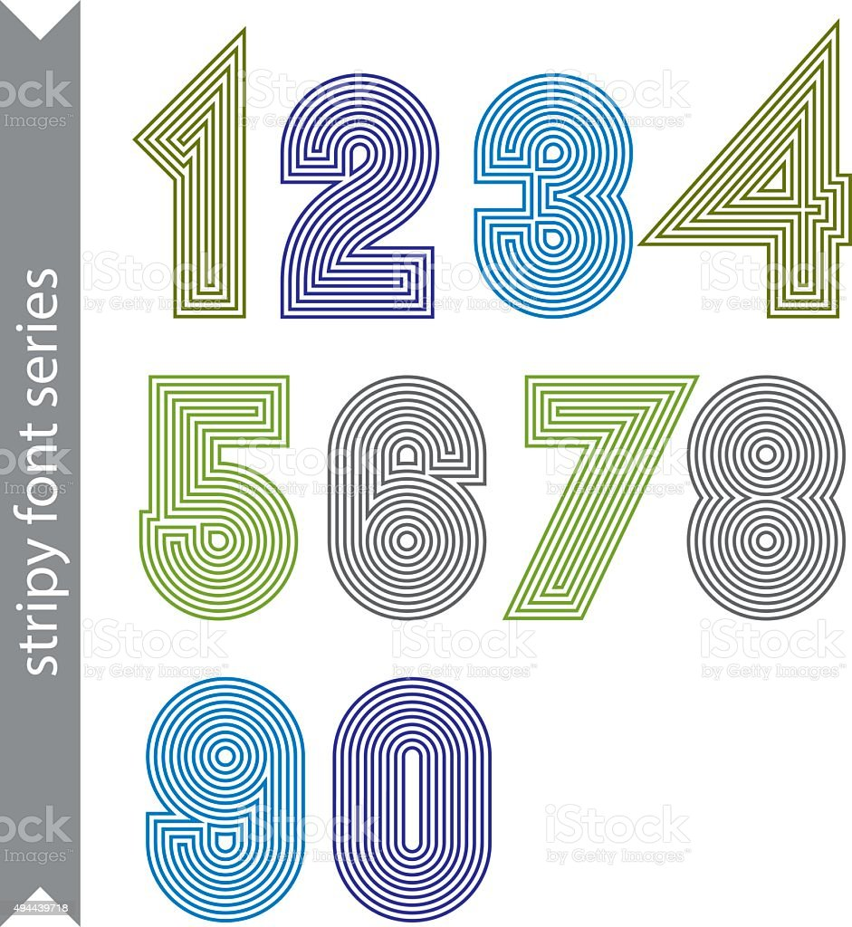 Geometric numbers made with parallel straight lines. vector art illustration