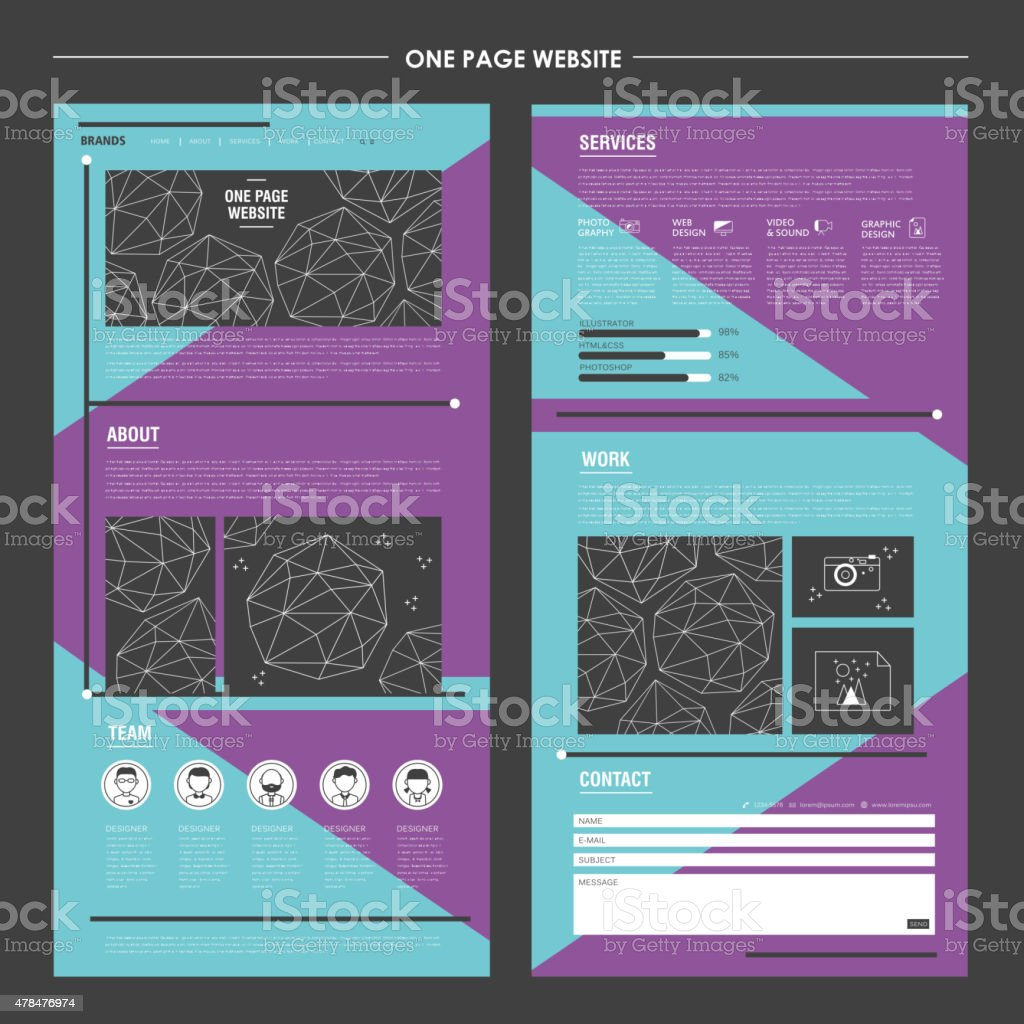 geometric one page website design template vector art illustration
