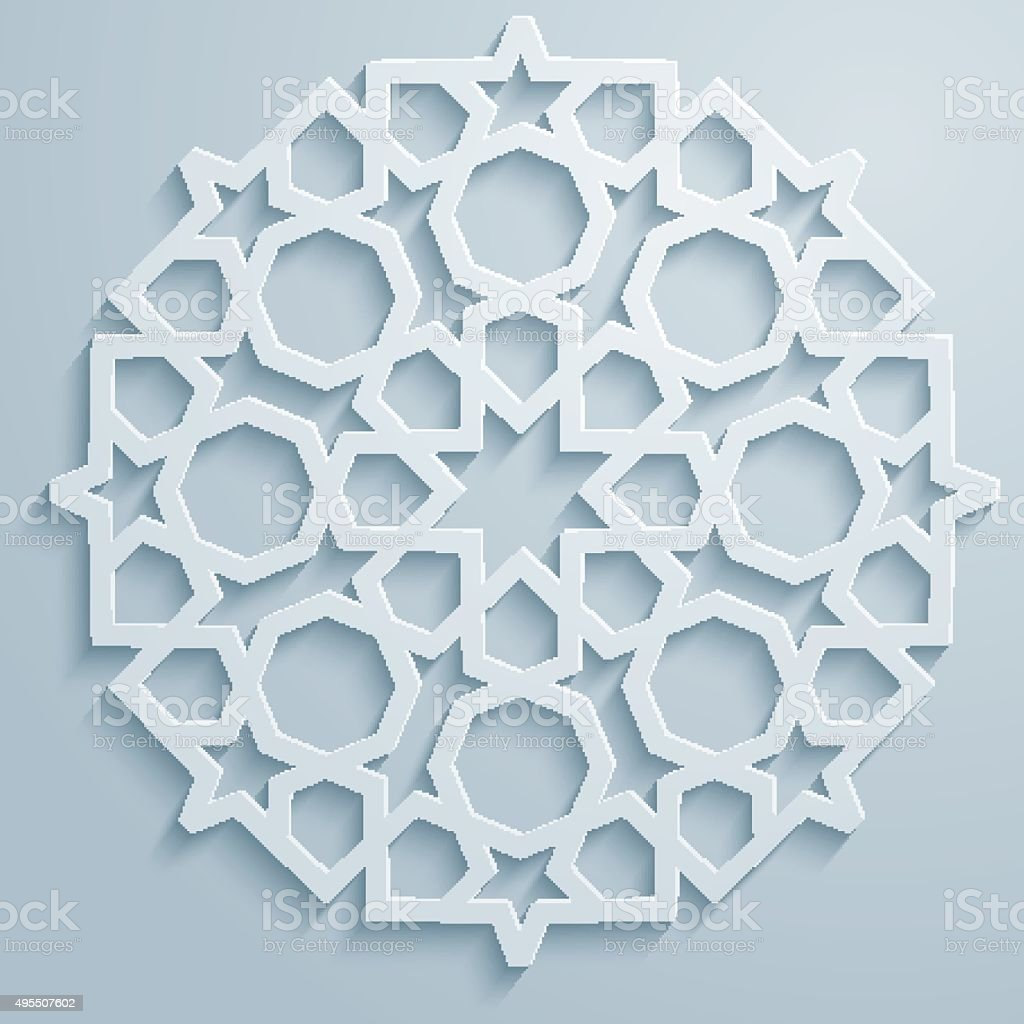 Geometric ornament arabic round pattern background - persian decorative vector art illustration