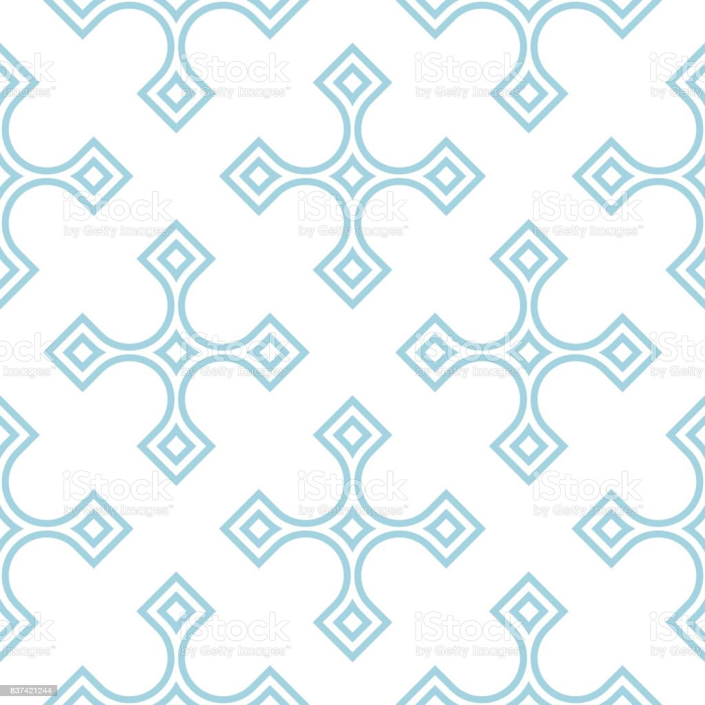 Geometric pattern for wallpapers. Blue and white seamless background vector art illustration