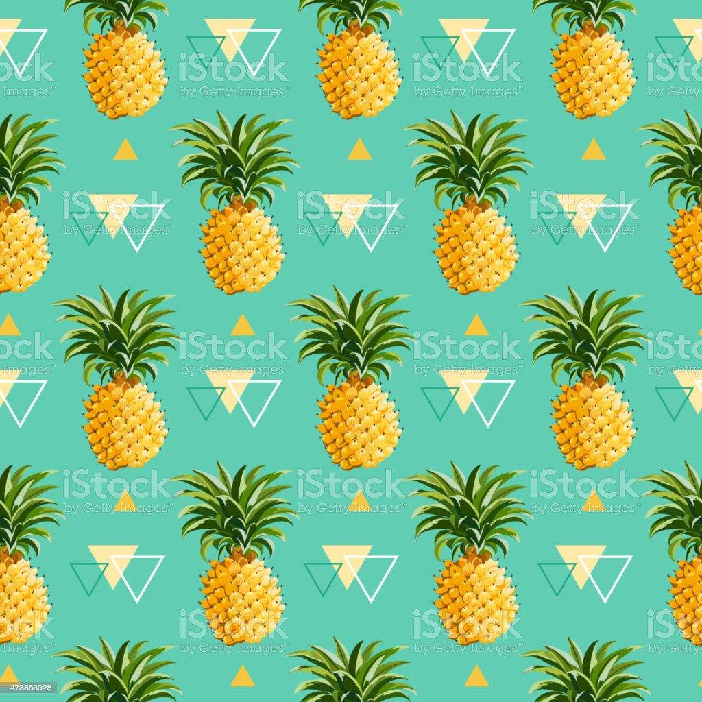 Geometric Pineapple Background - Seamless Pattern vector art illustration