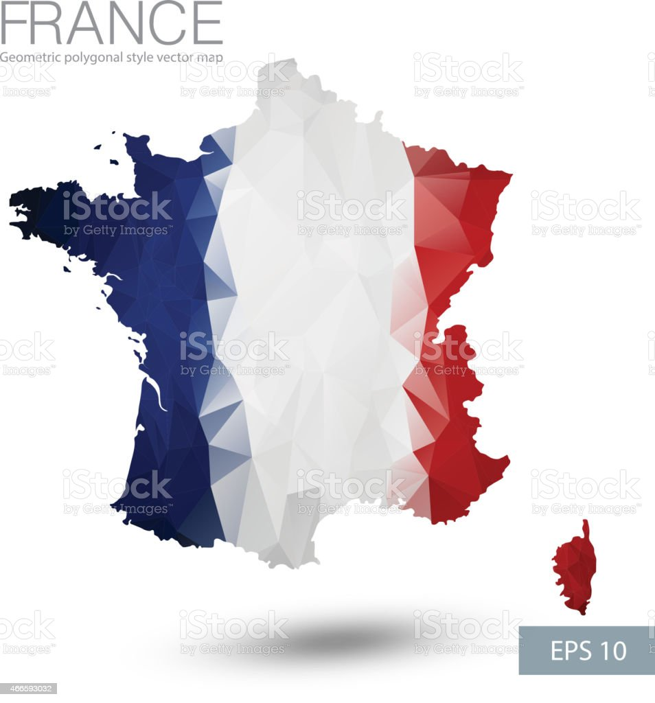 Geometric polygonal style vector map of France vector art illustration
