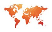 geometric red orange map of world