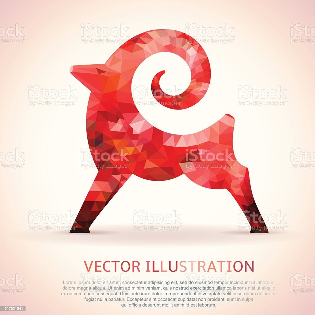 Geometric red shape of the Goat. vector art illustration