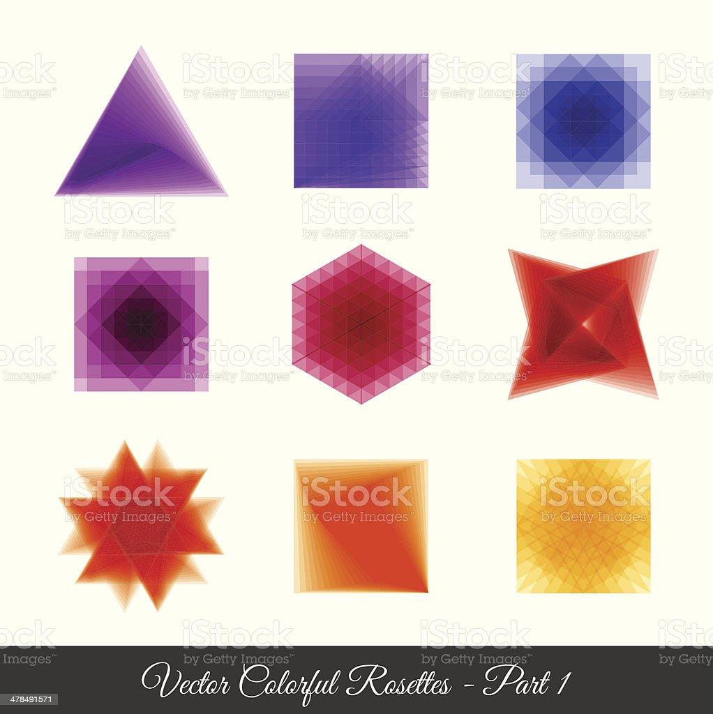 Geometric rosettes part 1 vector art illustration
