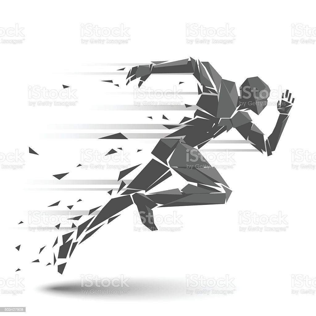 Geometric running man vector art illustration