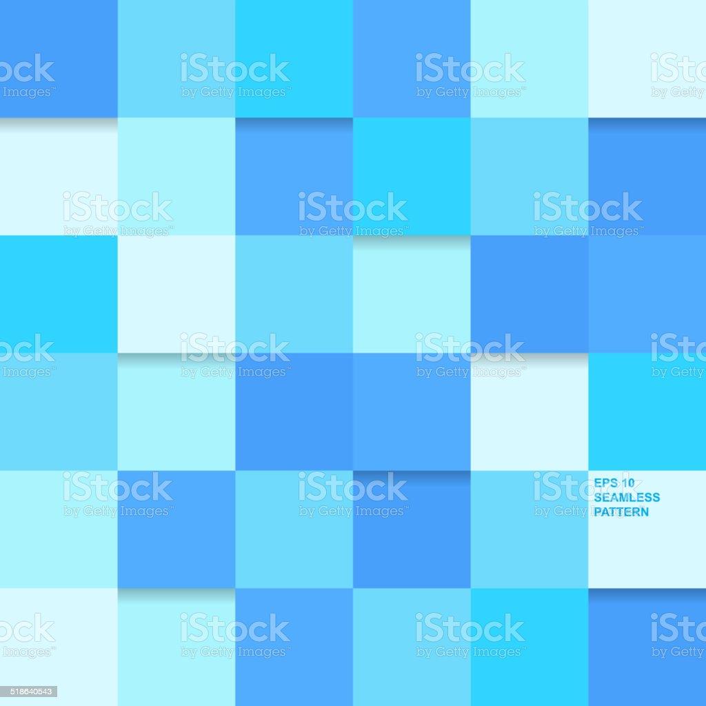 Geometric seamless pattern, blue square vector art illustration