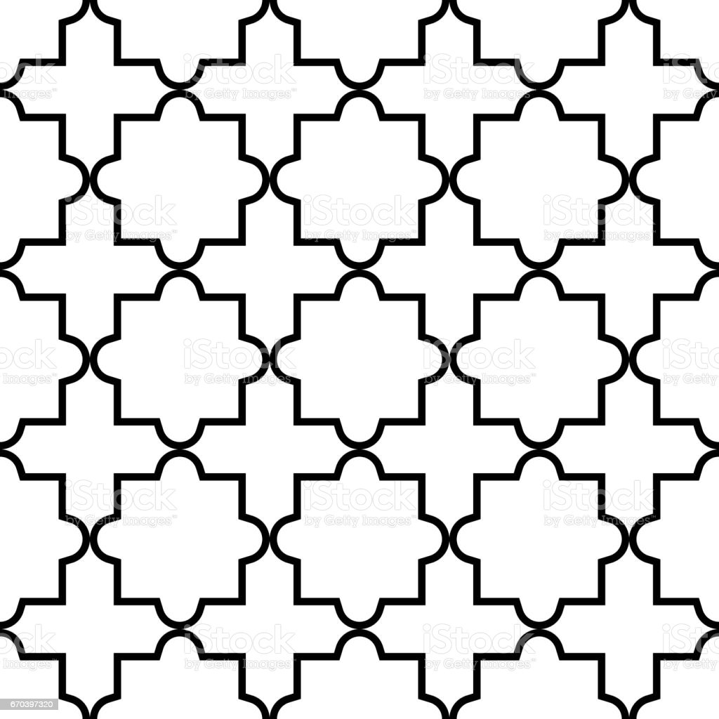 Vector of moroccan tile seamless pattern tile for design tile - Geometric Seamless Pattern Moroccan Tiles Design Black And White Background Royalty Free Stock