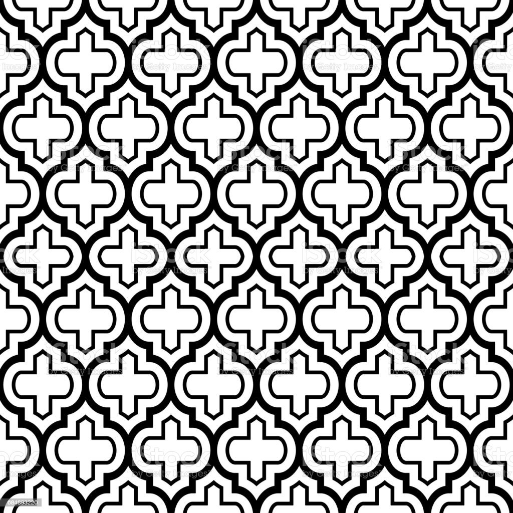 Vector of moroccan tile seamless pattern tile for design tile - Geometric Seamless Pattern Moroccan Tiles Design Black Background Royalty Free Stock Vector Art