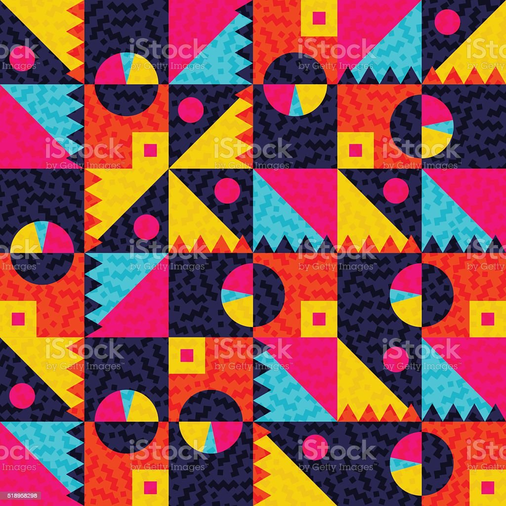 Geometric seamless pattern with colorful shapes vector art illustration