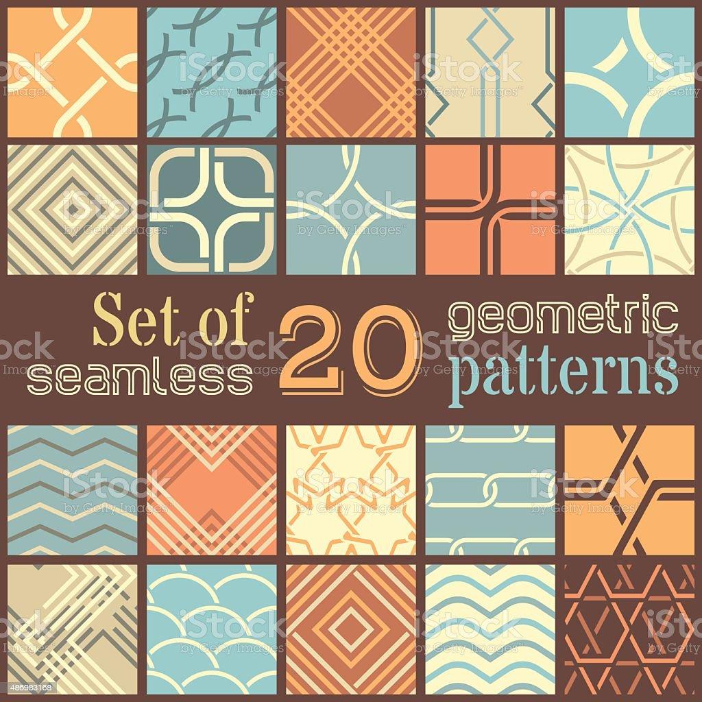 20 geometric seamless patterns set. vector art illustration