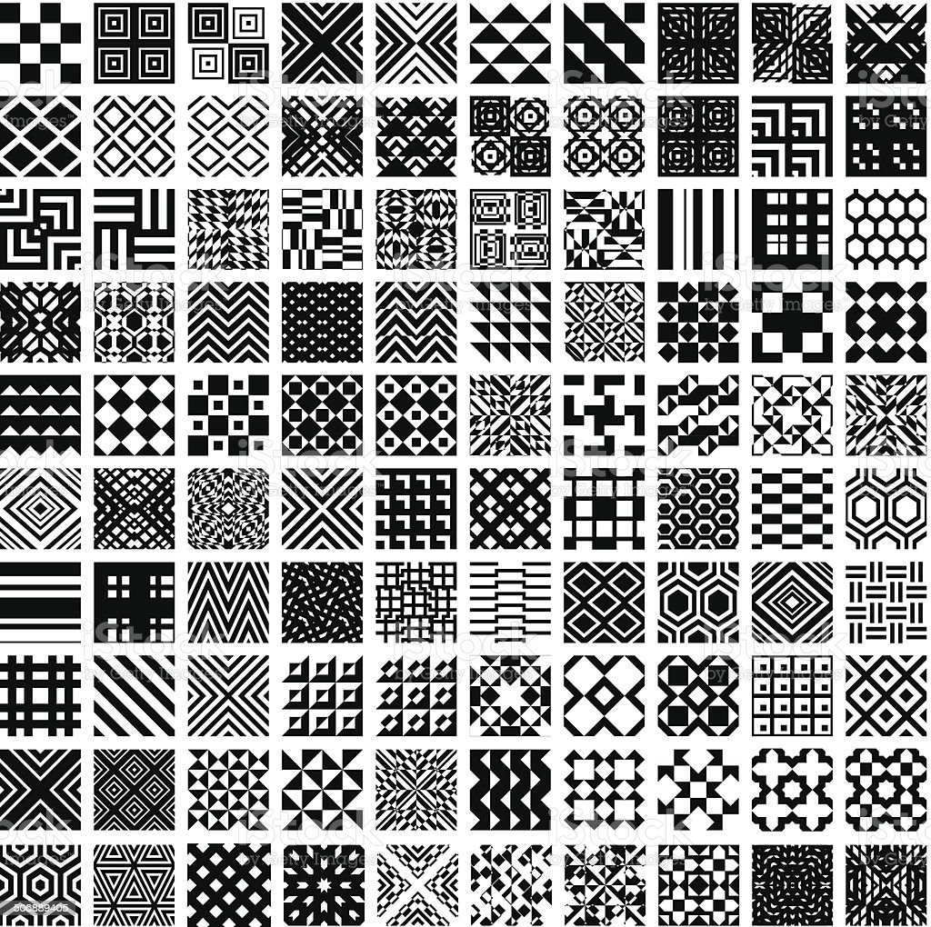 100 geometric seamless patterns set. vector art illustration