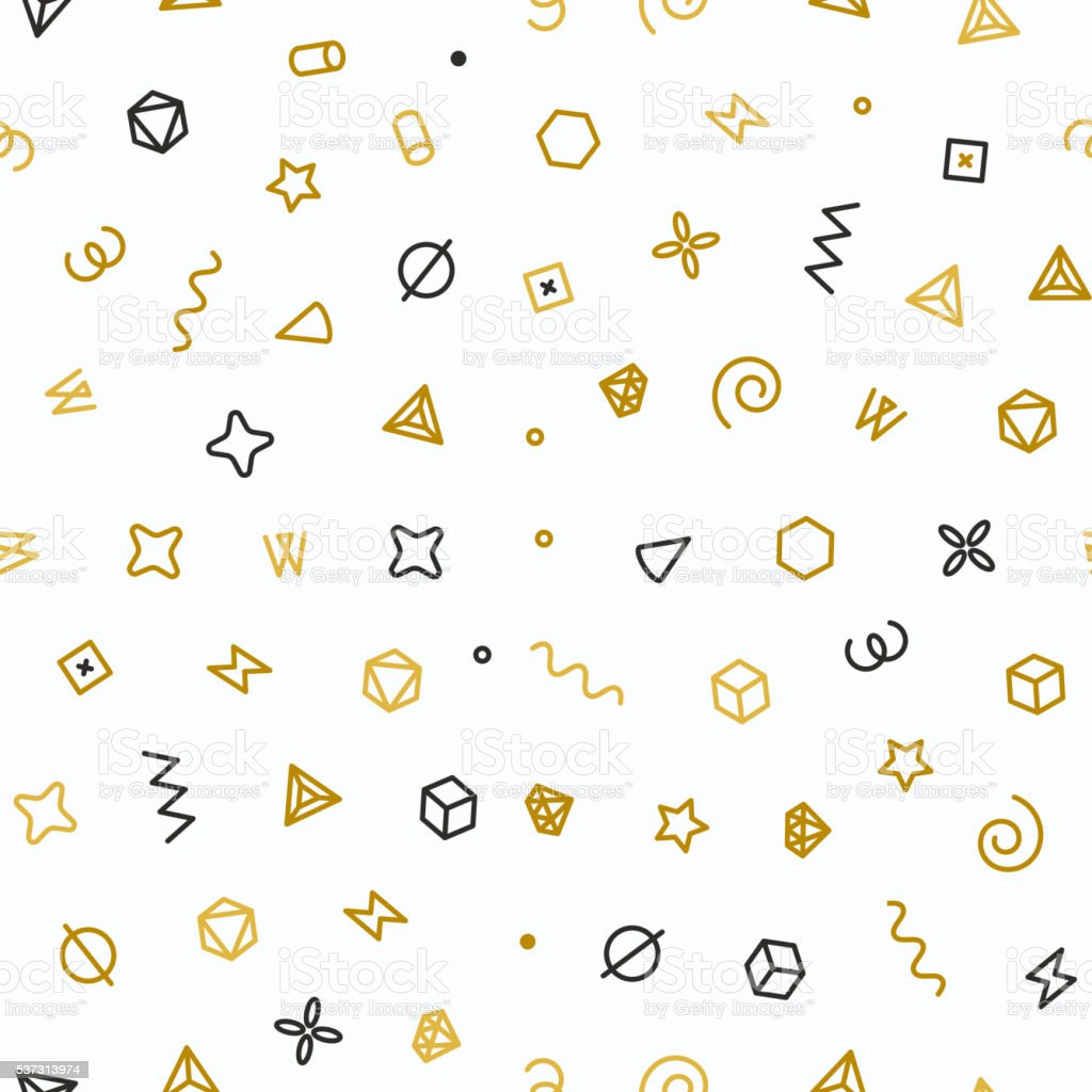 Geometric shapes seamless pattern. Gold pattern for fashion vector art illustration