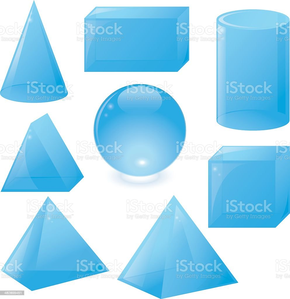 3D Geometric Shapes vector art illustration
