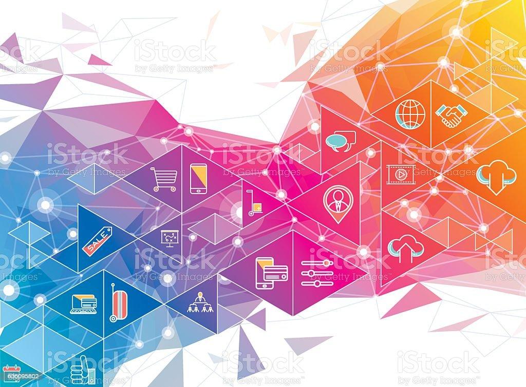 geometric social media design vector art illustration