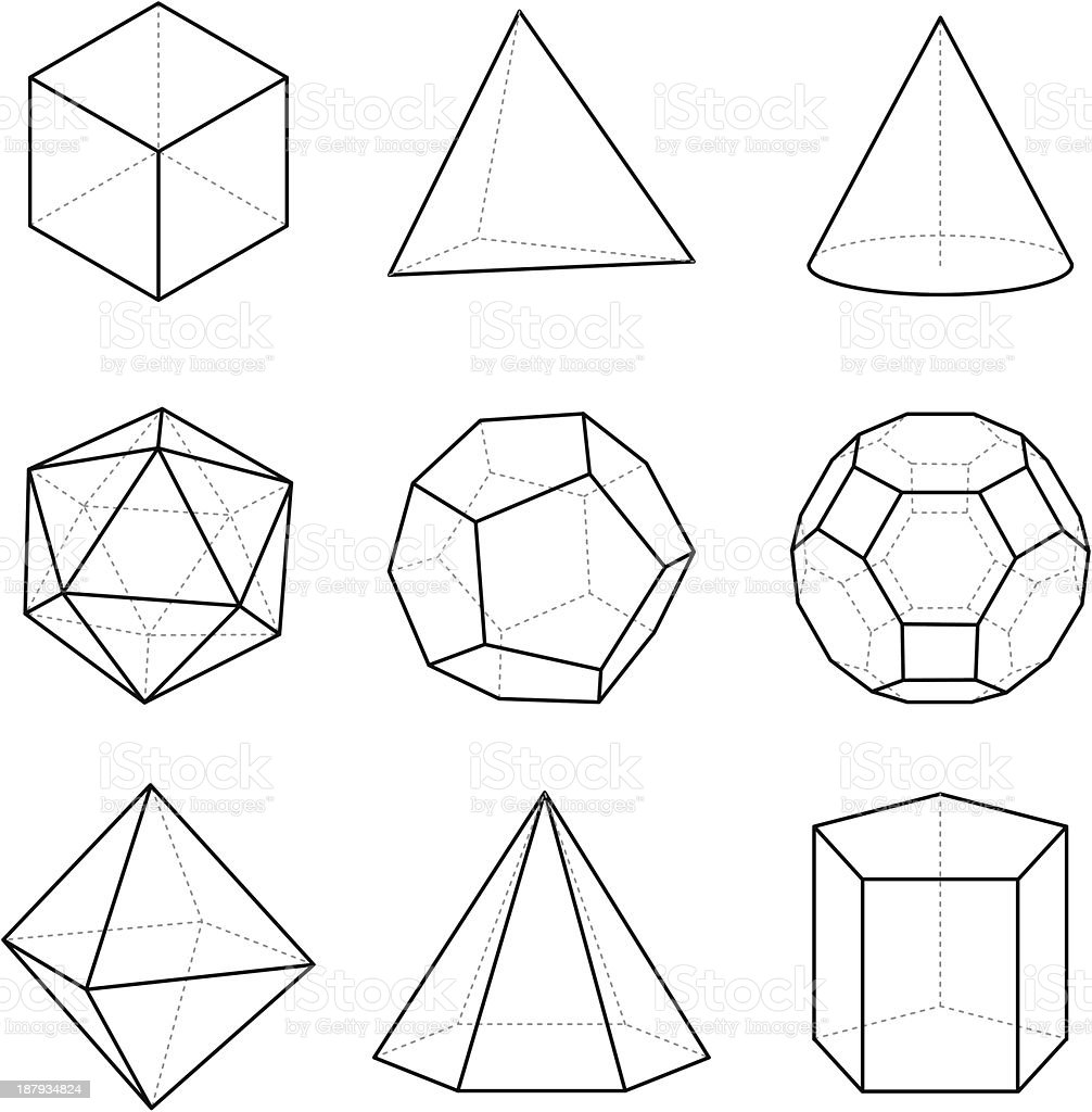 Geometric solids vector art illustration