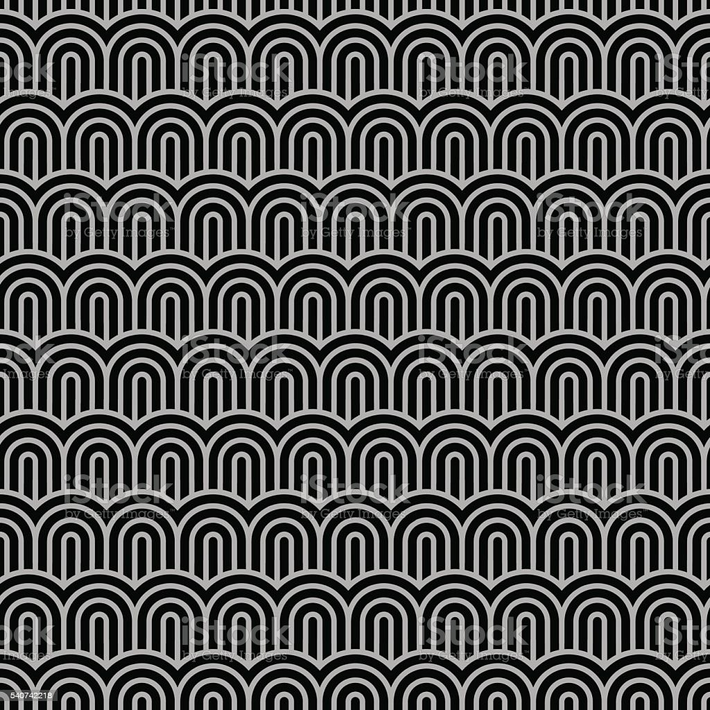Geometric striped seamless pattern with stylized waves vector art illustration