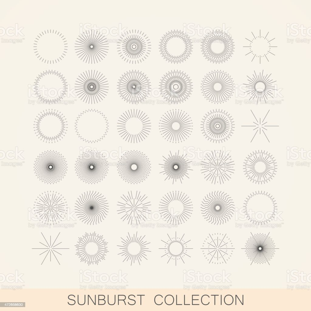 geometric sunburst and light ray shapes. design element collection vector art illustration