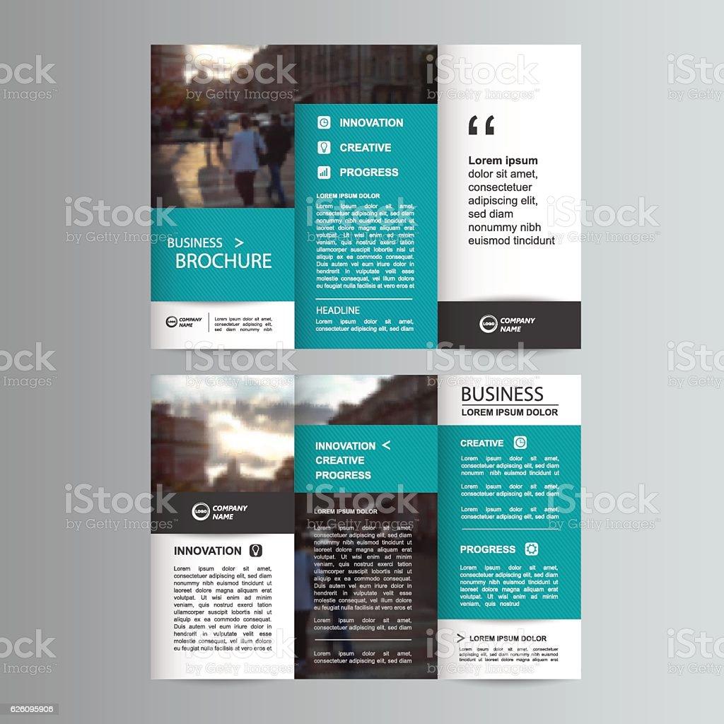 Geometric Trifold Business Brochure template vector art illustration