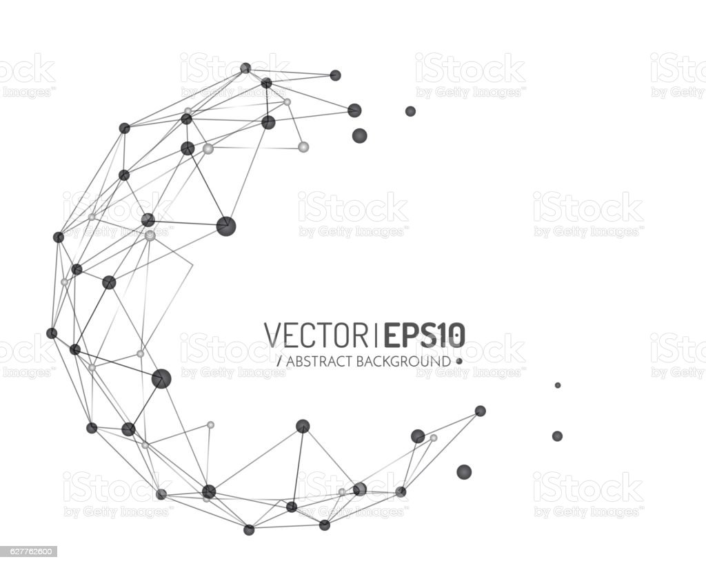 Geometric vector background for business or science presentation. Connection concept vector art illustration