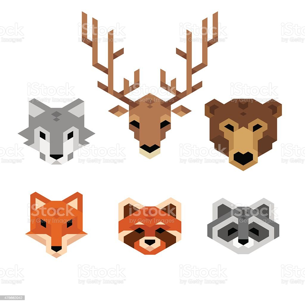 Geometric wild animals vector art illustration