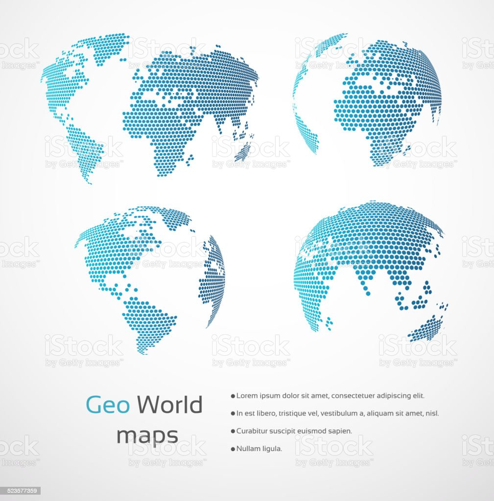 Geometric world maps vector art illustration