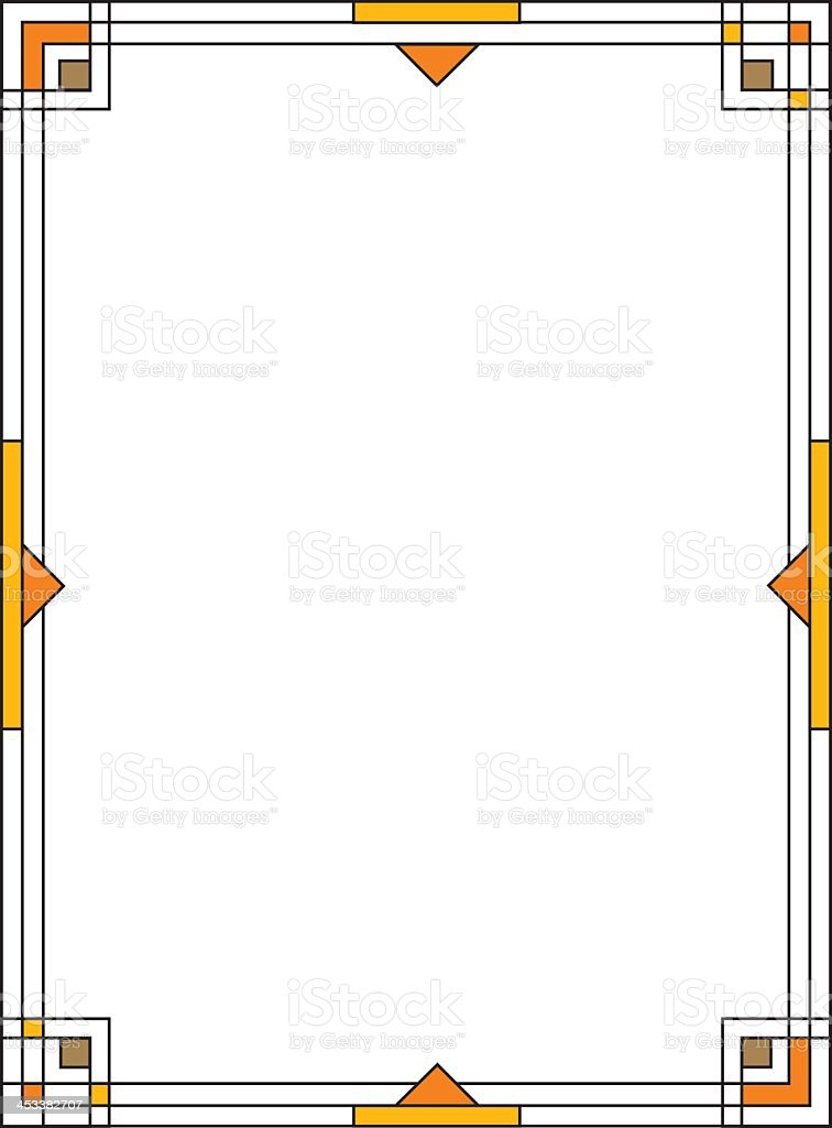 Geometric yellow and black Art Deco frame on white vector art illustration