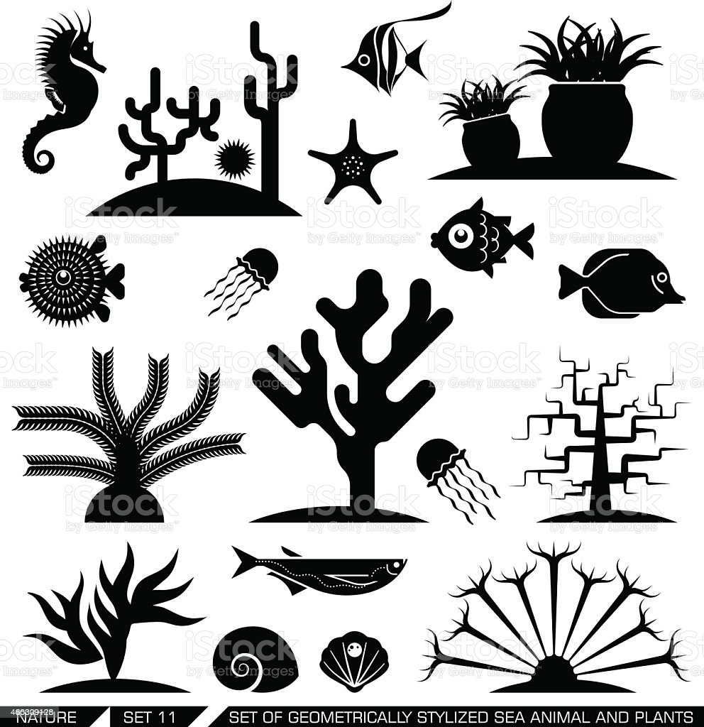 Geometrically stylized sea animal and plant icons. vector art illustration
