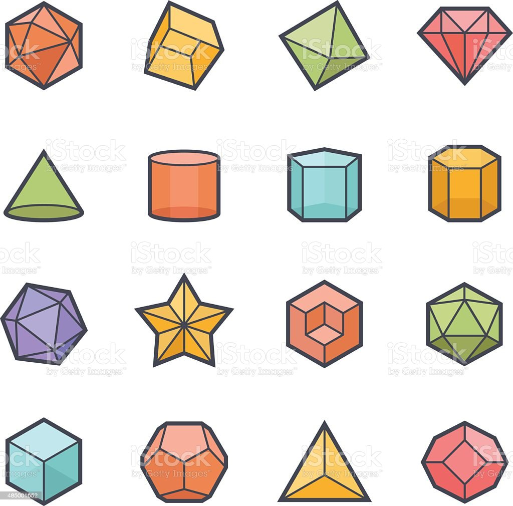 Geometries Shape Icon Bold Stroke with Color vector art illustration